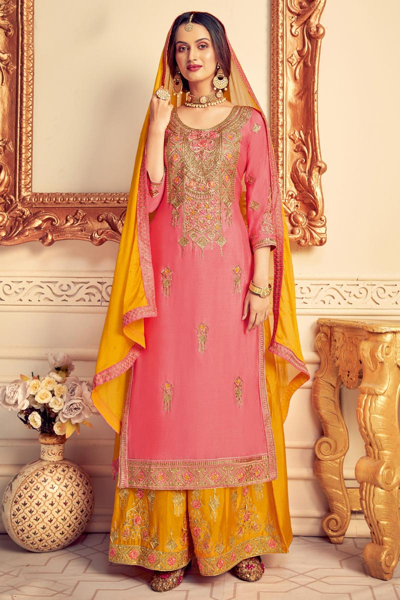 Party Style Pink Color Designer Chinon Fabric Embroidered Palazzo Dress