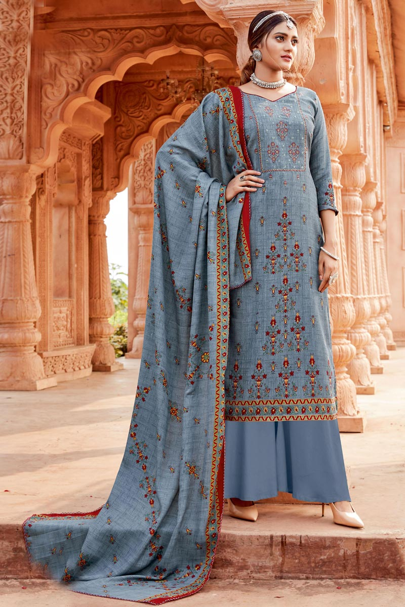Grey Color Pashmina Fabric Daily Wear Palazzo Suit