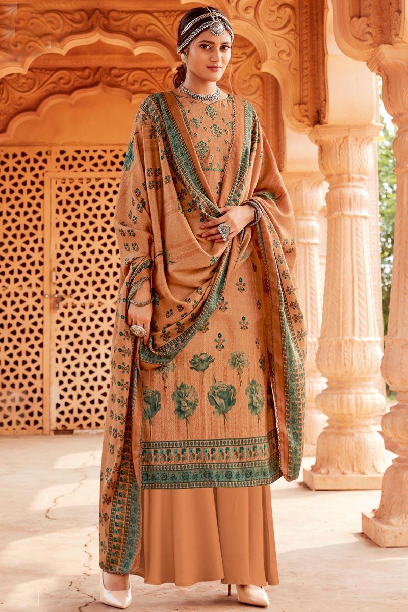 Pashmina Fabric Peach Color Fancy Palazzo Salwar Kameez