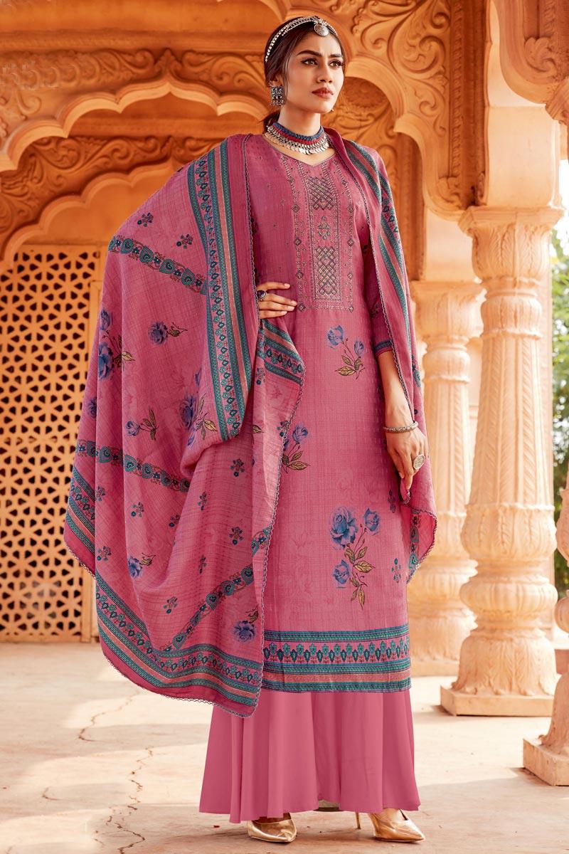 Pink Color Embroidery Work Pashmina Fabric Daily Wear Palazzo Salwar Kameez