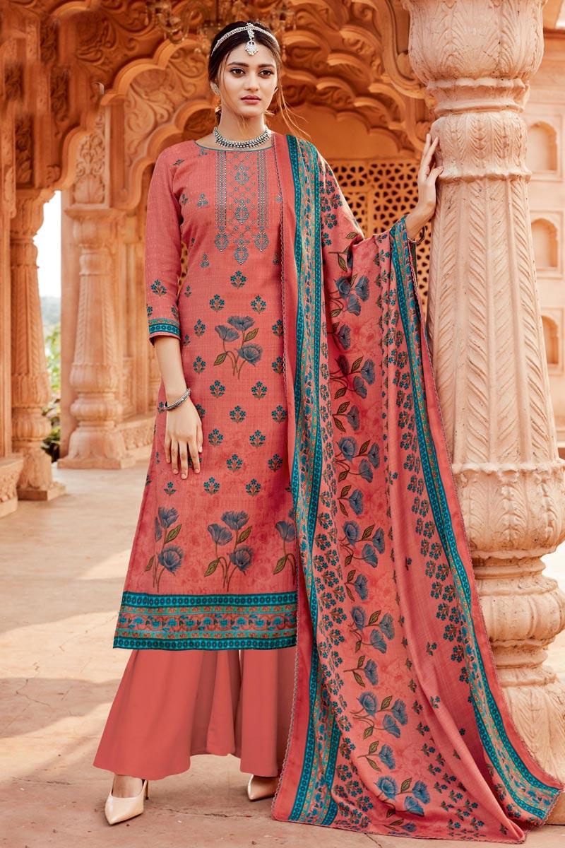 Pashmina Fabric Pink Color Casual Wear Palazzo Salwar Kameez
