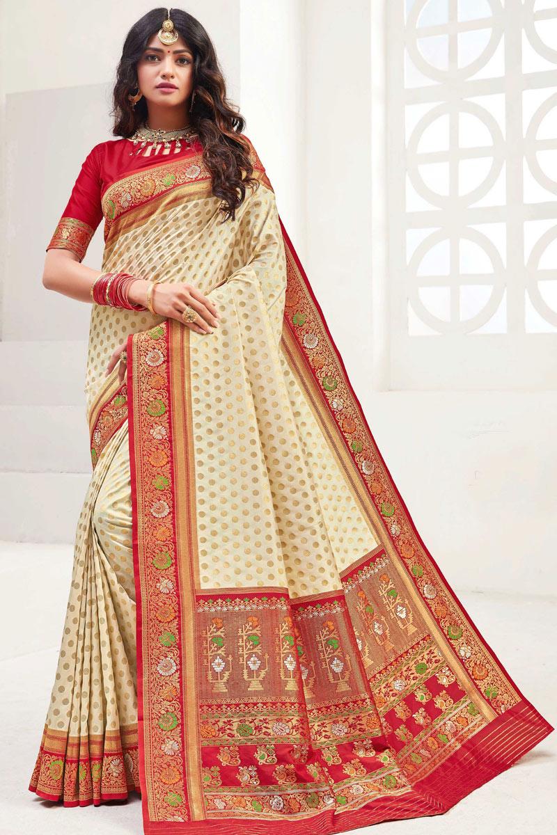 Silk Fabric Wedding Wear Beige Color Fancy Weaving Work Saree