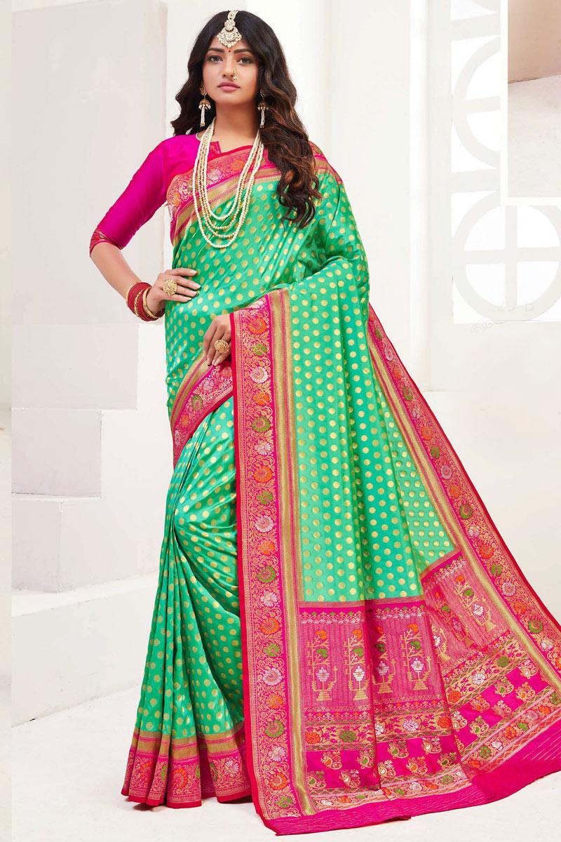 Sea Green Color Sangeet Wear Silk Fabric Weaving Work Saree