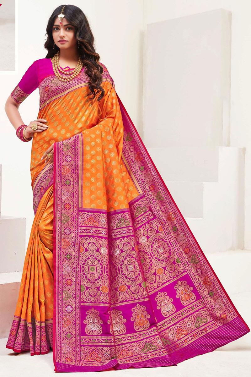 Orange Color Silk Fabric Weaving Work Saree