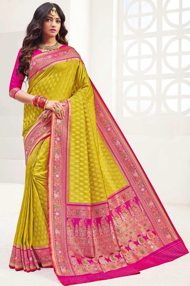 Yellow Color Designer Saree In Silk Fabric