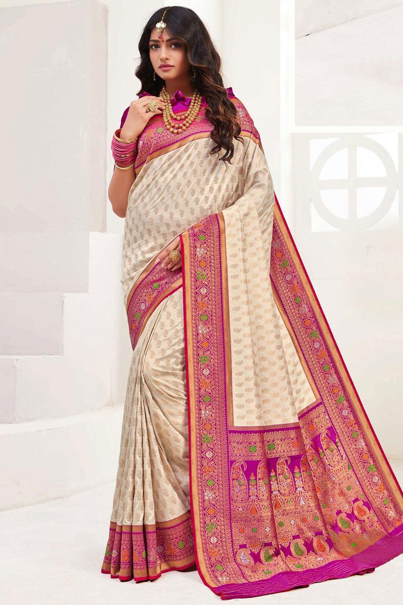 Beige Color Silk Fabric Festive Wear Saree