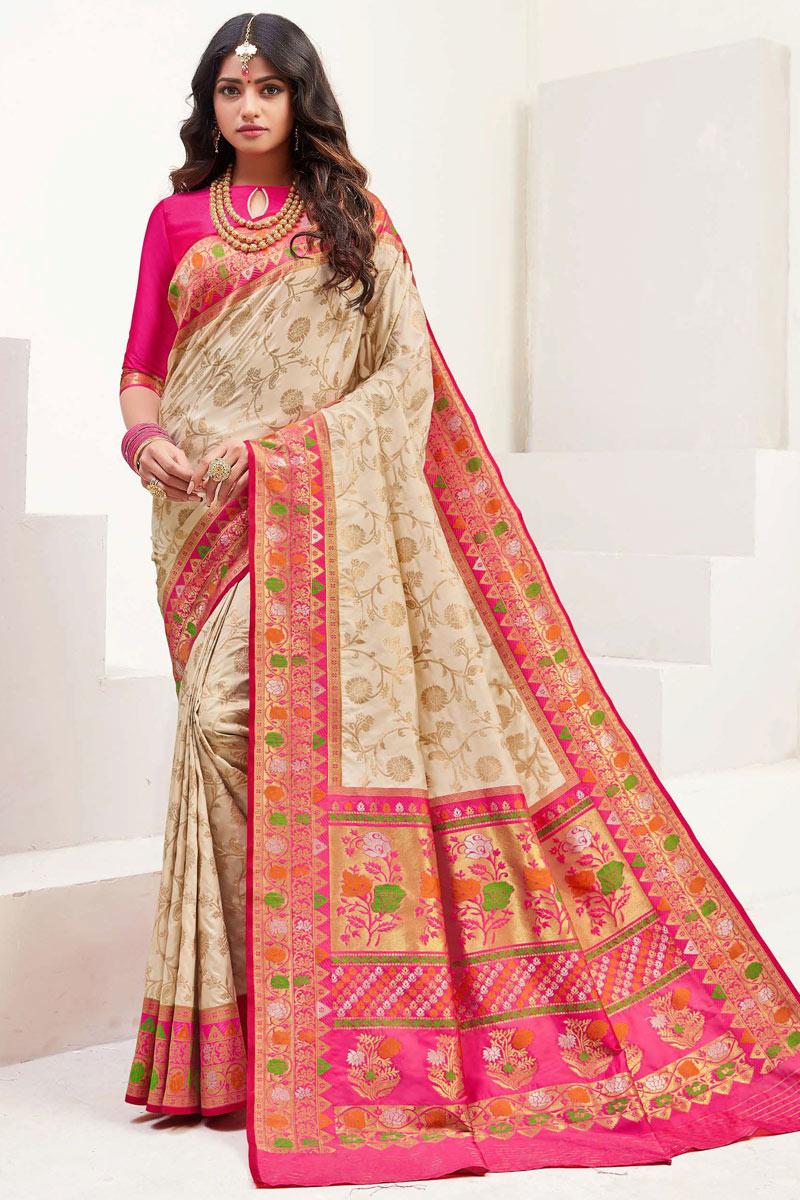 Chikoo Color Silk Fabric Function Wear Saree