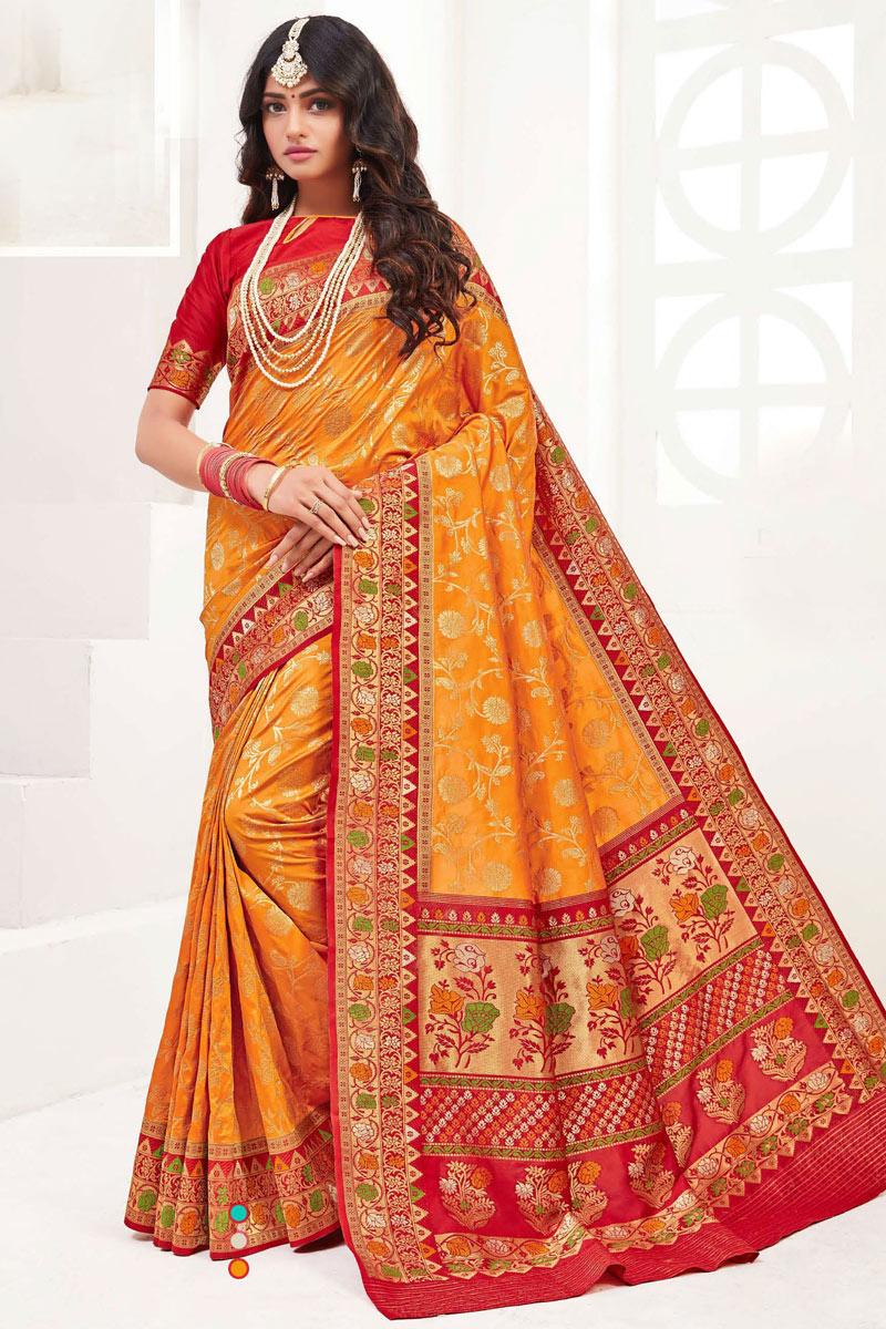 Silk Fabric Orange Color Designer Saree