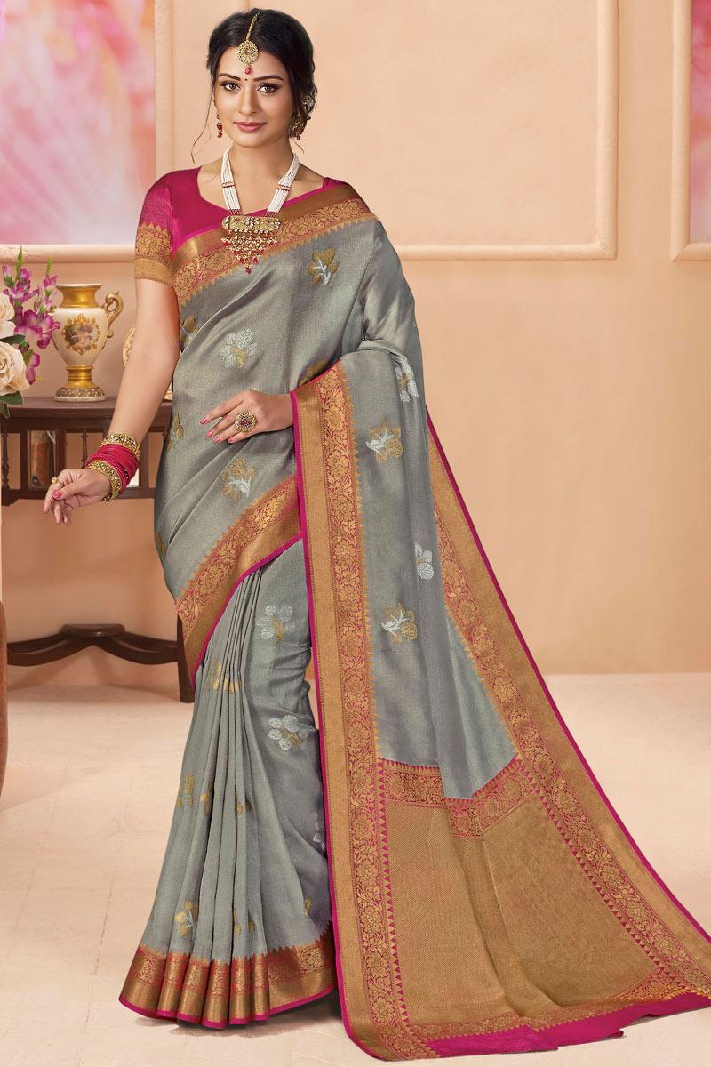 Silk Fabric Sangeet Wear Grey Color Weaving Work Saree