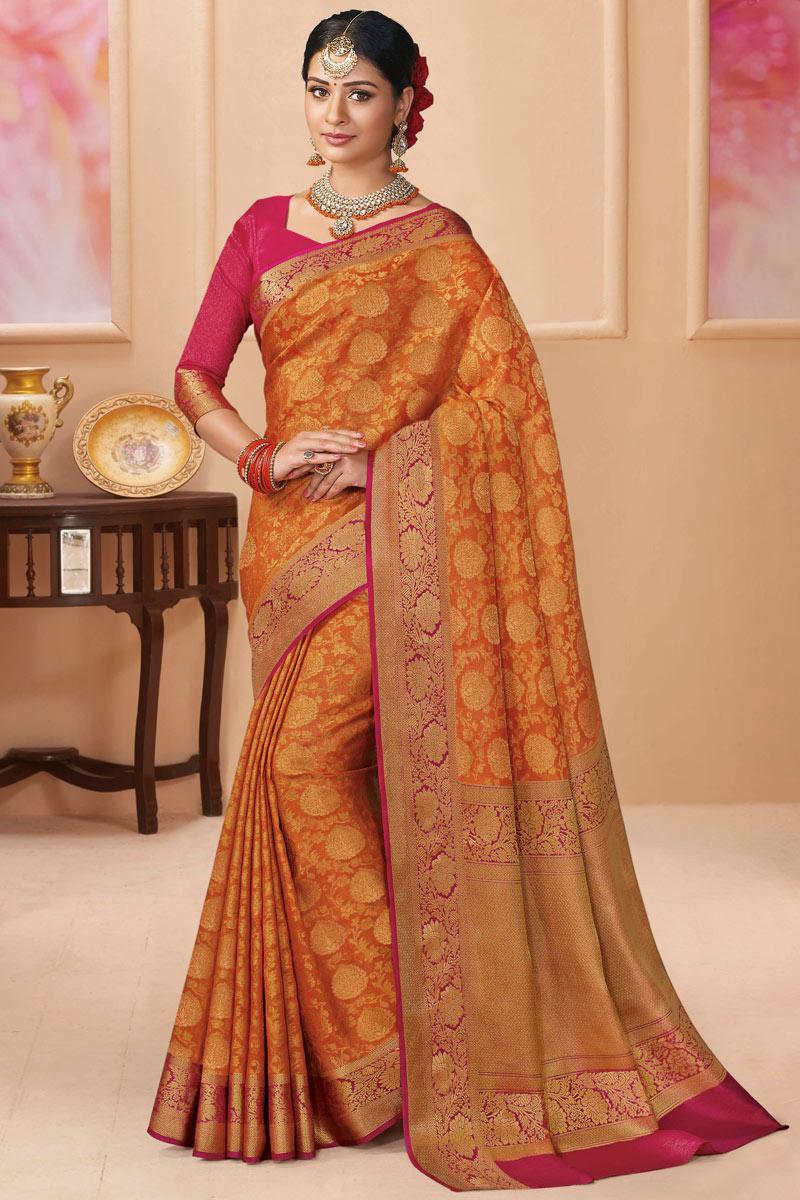 Rust Color Sangeet Wear Silk Fabric Weaving Work Saree