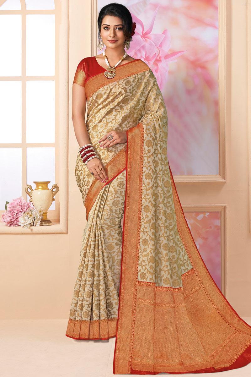 Silk Fabric Designer Party Wear Saree In Beige Color