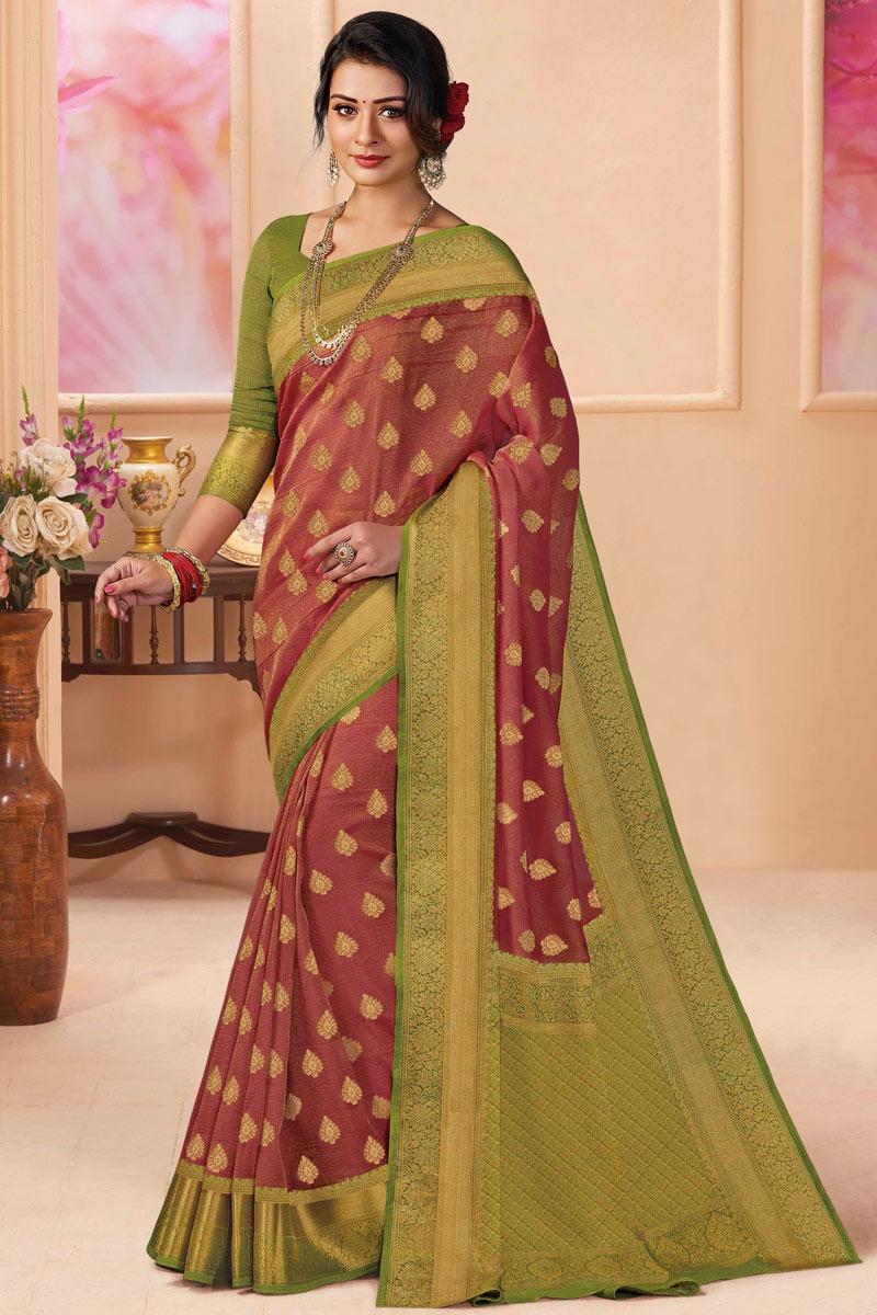 Maroon Color Silk Fabric Fancy Saree