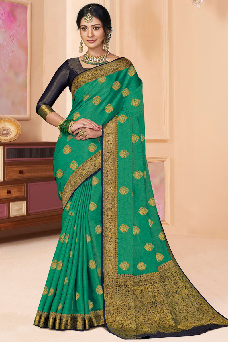 Silk Fabric Party Wear Saree In Light Turquoise Color