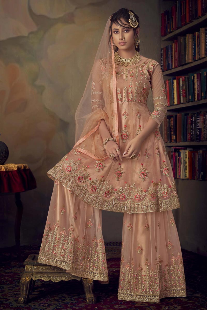 Function Wear Peach Color Net Fabric Chic Embroidered Sharara Dress