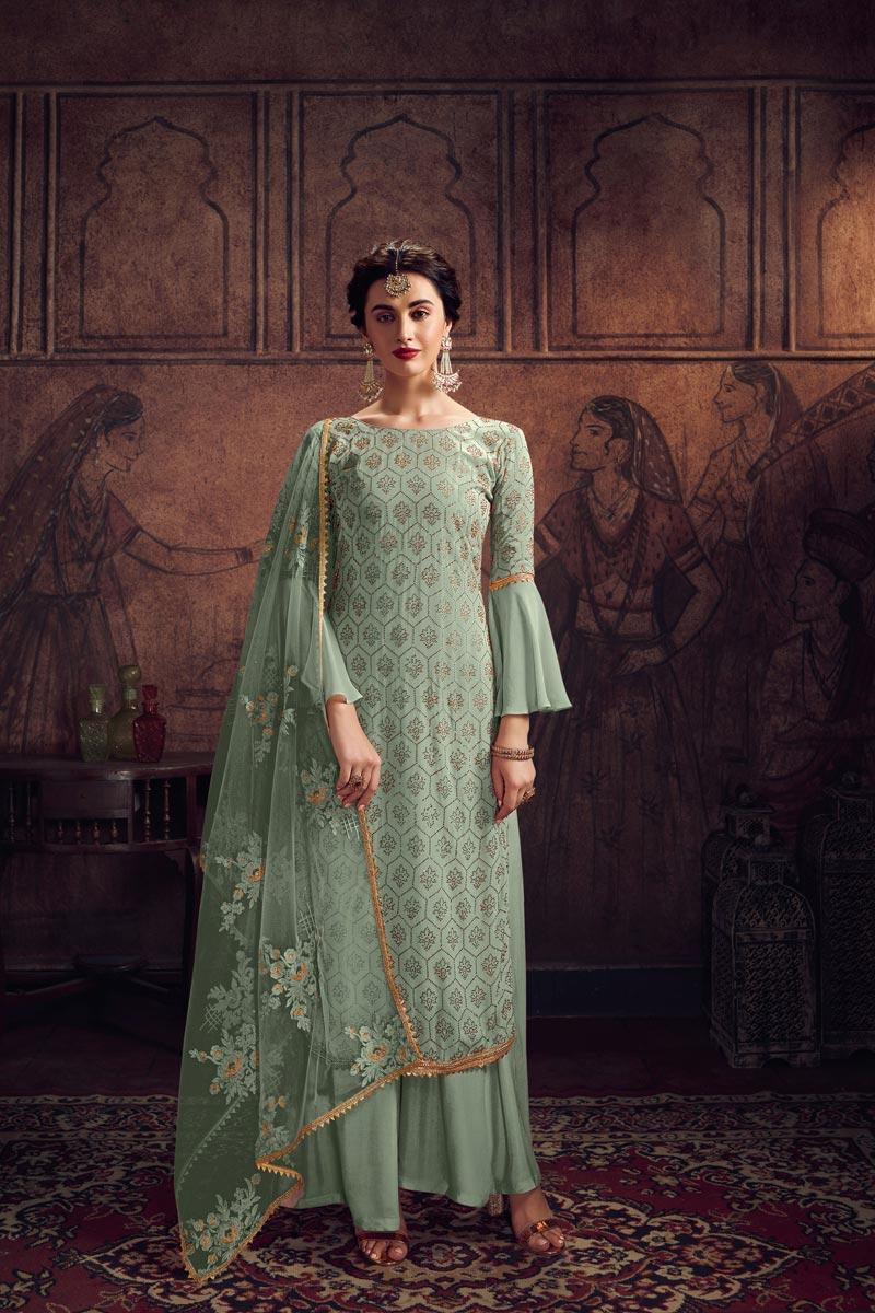 Festive Wear Trendy Sea Green Color Stone Work Georgette Fabric Palazzo Dress