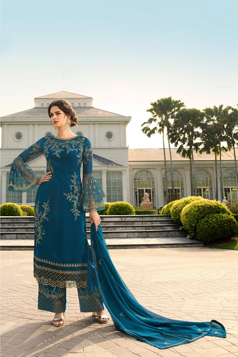 Party Style Trendy Teal Color Embroidered Georgette Fabric Palazzo Dress