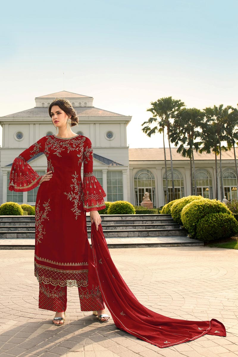Party Style Trendy Georgette Fabric Embroidered Palazzo Suit In Red Color