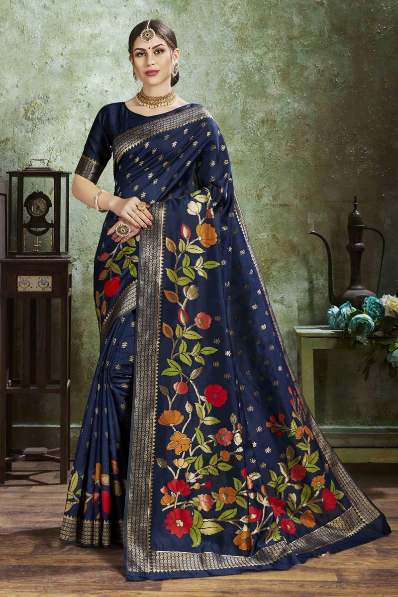 Navy Blue Color Puja Wear Art Silk Fabric Trendy Weaving Work Saree