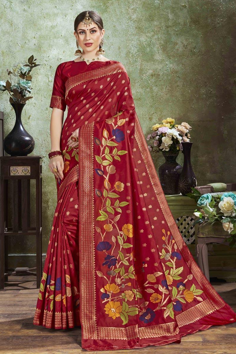 Puja Wear Red Color Trendy Art Silk Fabric Weaving Work Saree