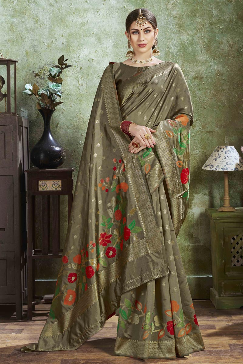 Puja Wear Dark Beige Color Trendy Weaving Work Saree In Art Silk Fabric