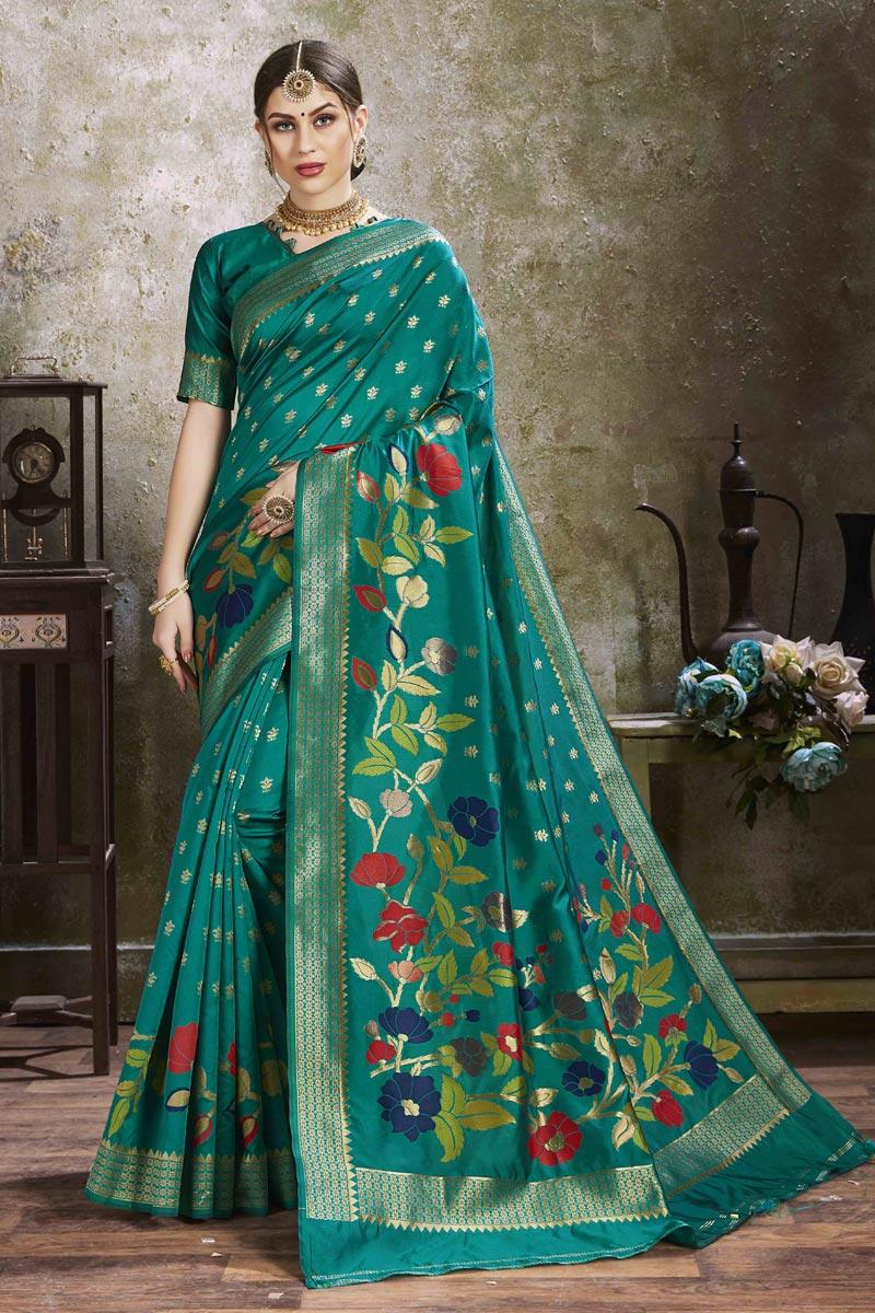 Puja Wear Trendy Teal Color Weaving Work Saree In Art Silk Fabric