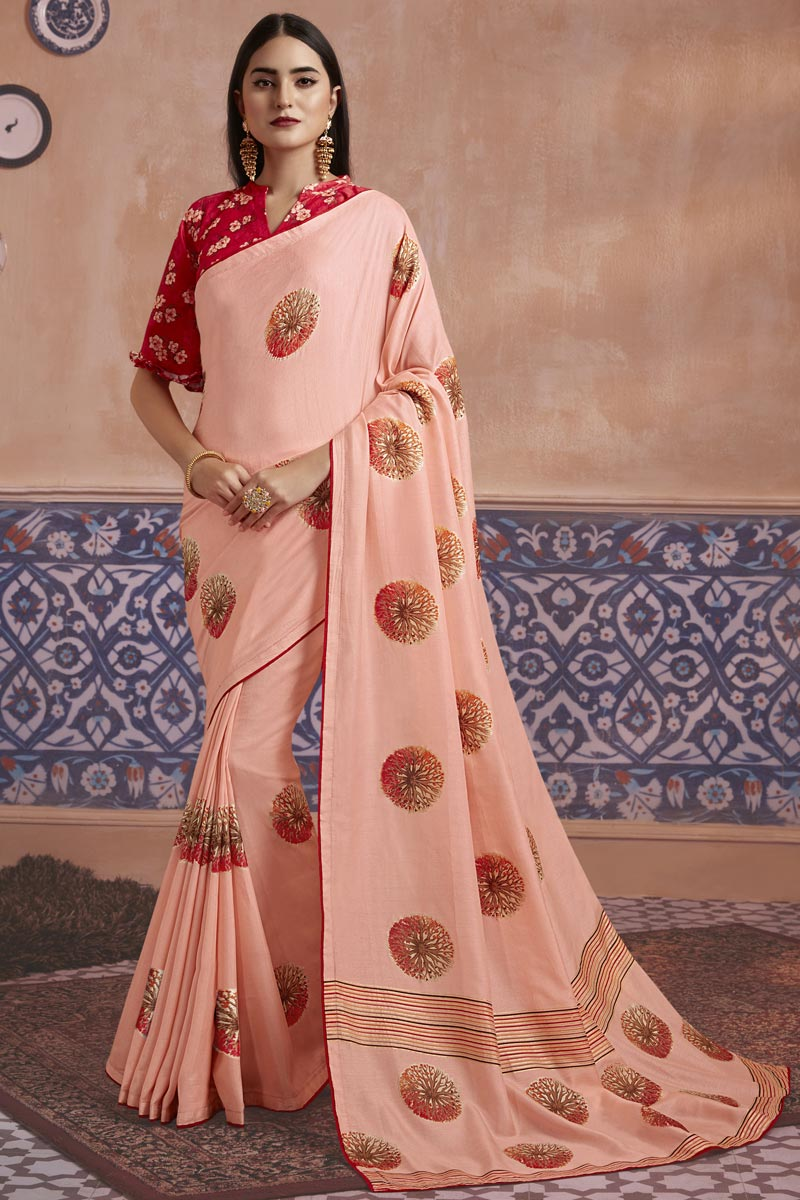 Art Silk Fabric Elegant Festive Wear Pink Color Digital Printed Saree