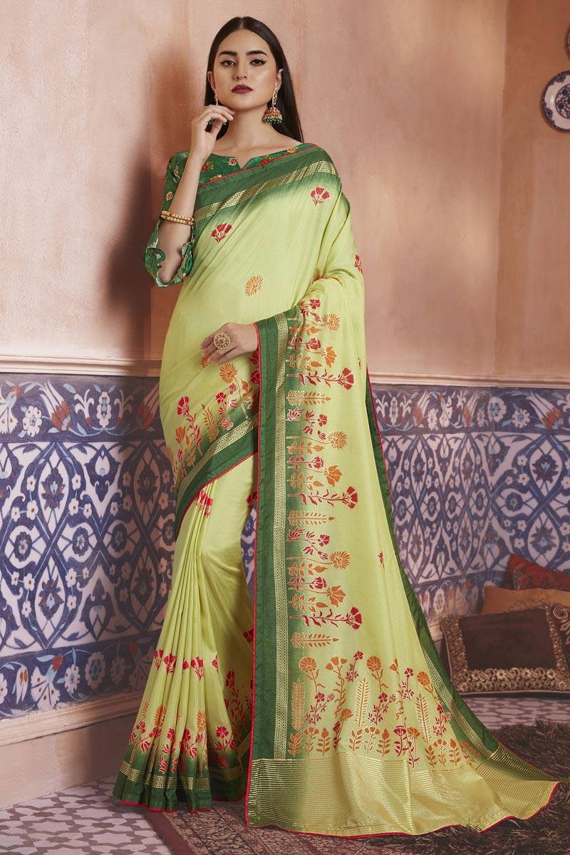 Sea Green Color Festive Wear Art Silk Fabric Elegant Digital Printed Saree