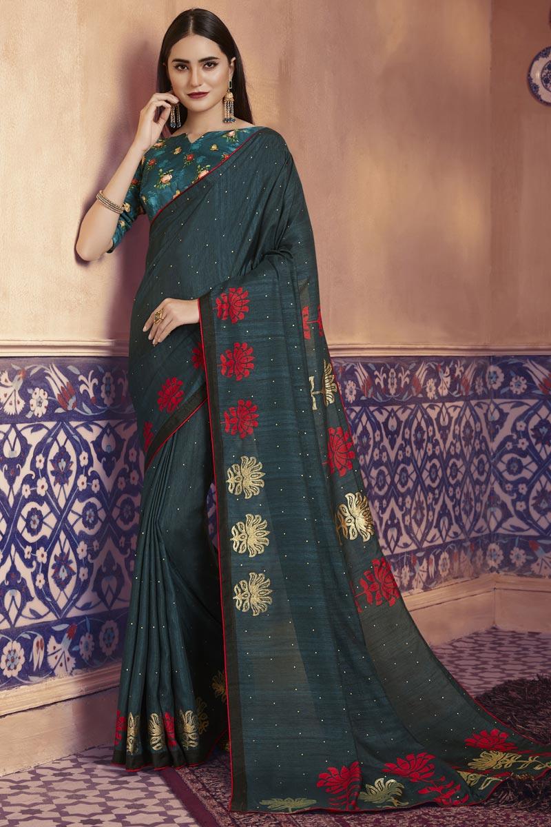 Festive Wear Teal Color Elegant Art Silk Fabric Digital Printed Saree