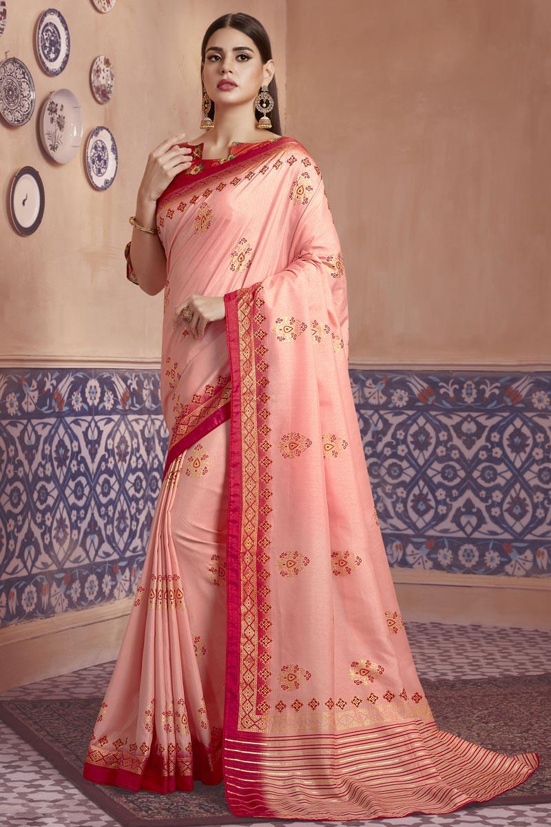 Festive Wear Pink Color Elegant Digital Printed Saree In Art Silk Fabric