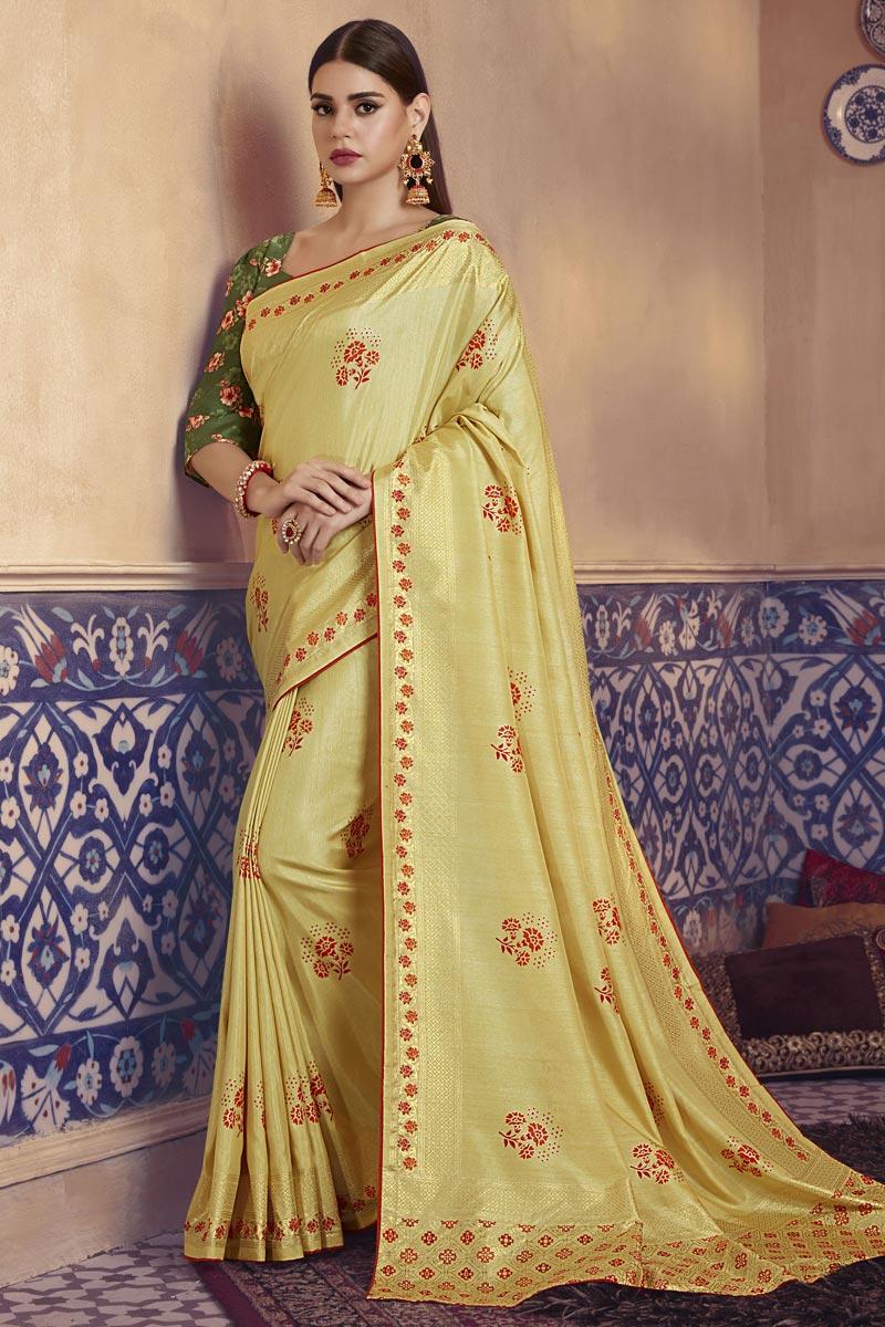 Festive Wear Elegant Yellow Color Digital Printed Art Silk Fabric Saree