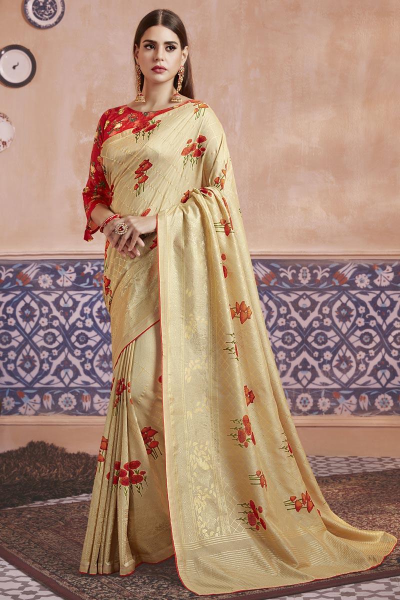 Art Silk Fabric Festive Wear Beige Color Elegant Digital Printed Saree