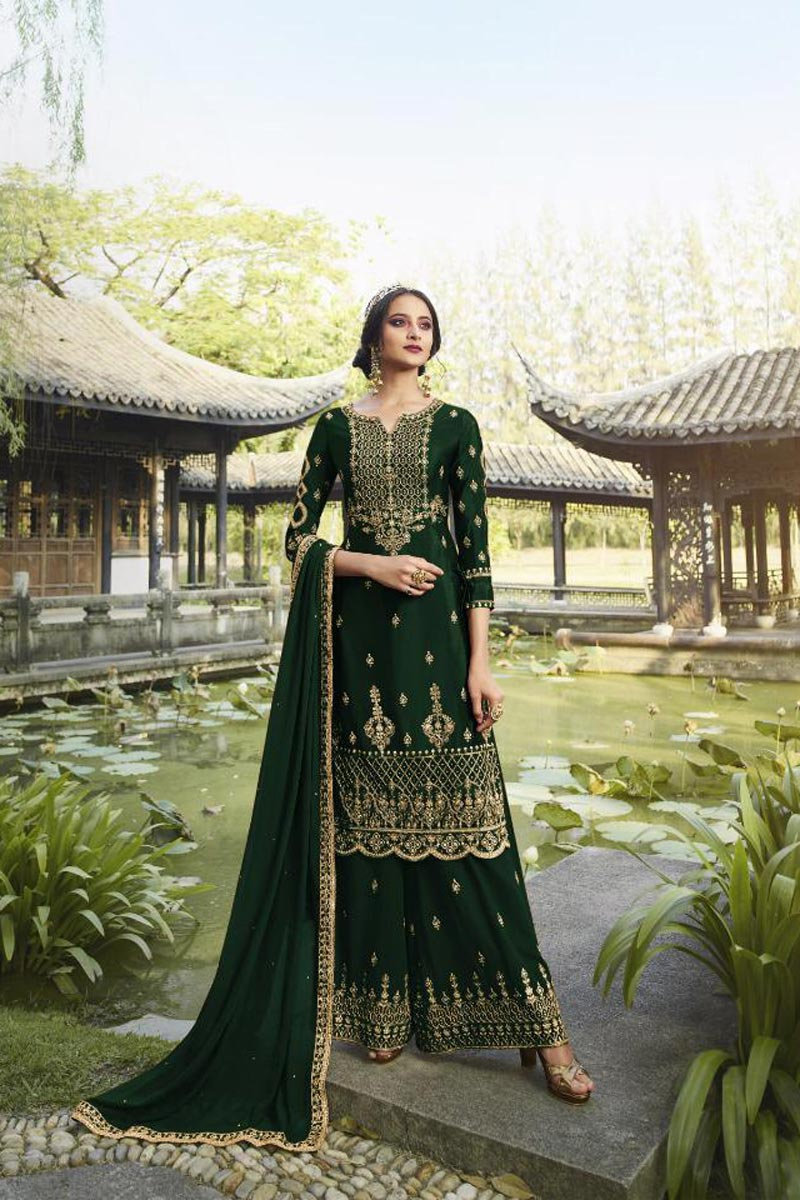 Classic Georgette Fabric Party Style Embroidered Palazzo Suit In Dark Green Color