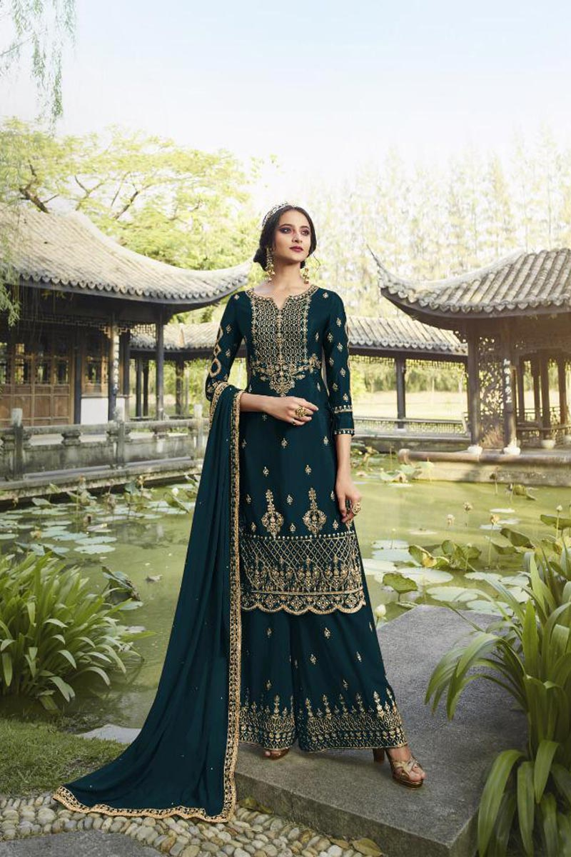 Party Style Classic Georgette Fabric Embroidered Palazzo Suit In Teal Color