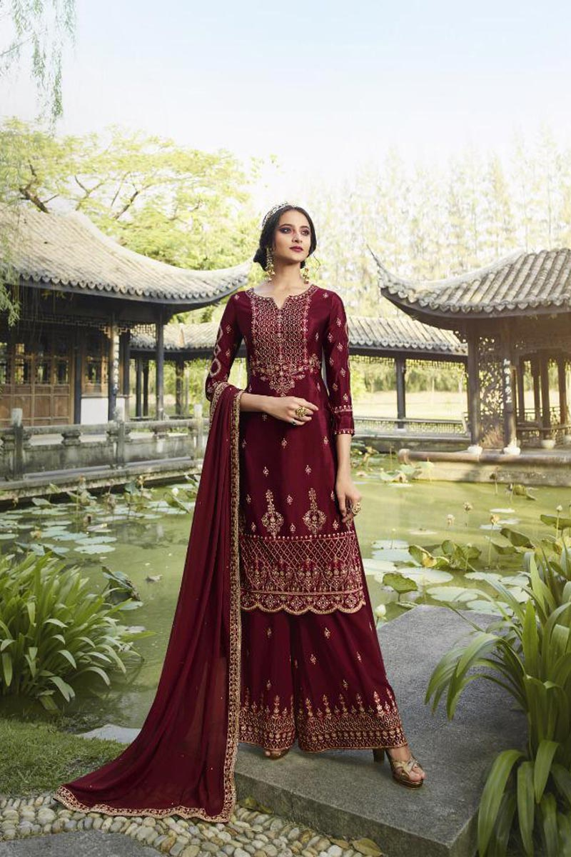 Classic Georgette Fabric Party Style Embroidered Maroon Color Palazzo Dress