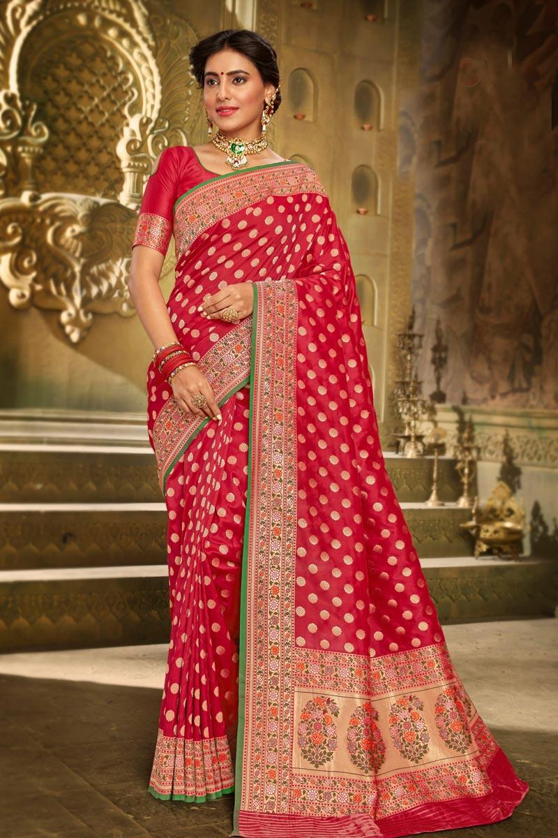 Sangeet Wear Elegant Brocade Fabric Weaving Work Red Color Saree
