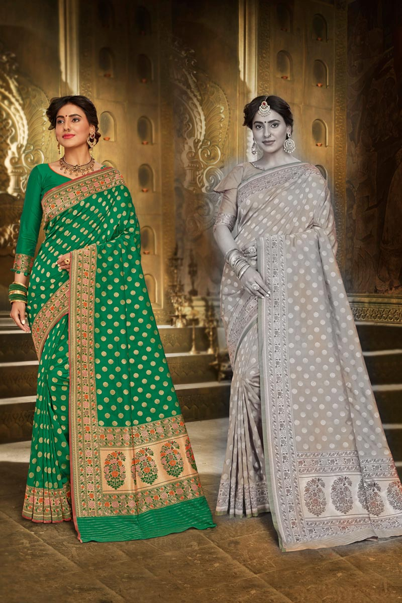 Brocade Fabric Elegant Sangeet Wear Green Color Weaving Work Saree