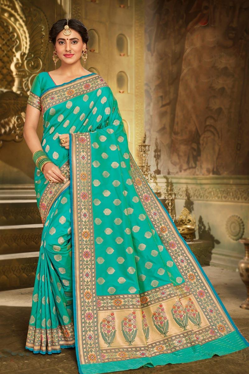 Sangeet Wear Elegant Cyan Color Weaving Work Saree In Brocade Fabric