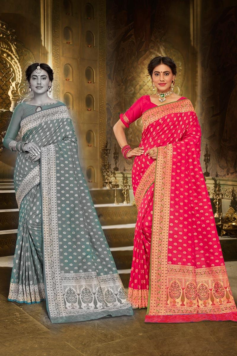 Brocade Fabric Sangeet Wear Dark Pink Color Elegant Weaving Work Saree