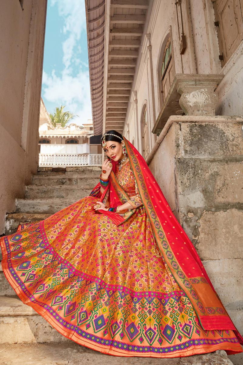 Trendy Multi Color Function Wear Banarasi Style Silk Fabric Weaving Work Lehenga