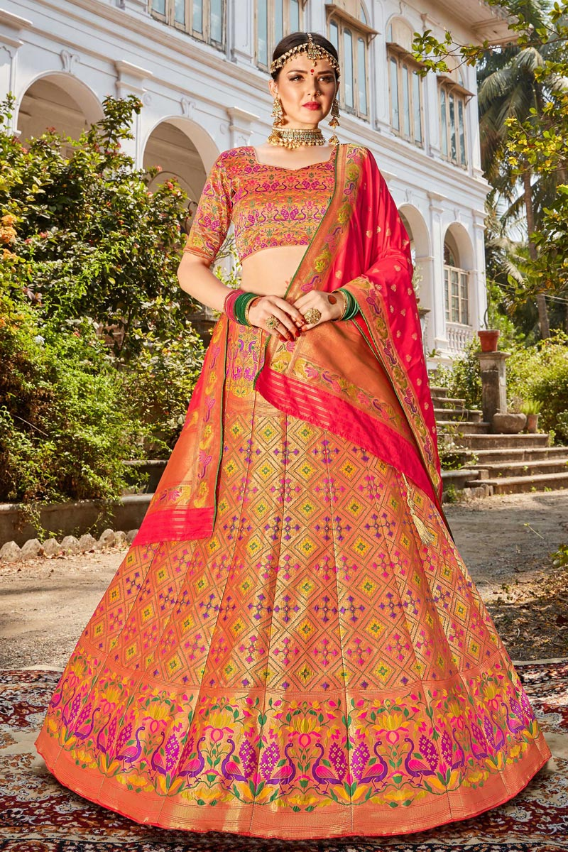 Function Wear Banarasi Style Silk Fabric Trendy Weaving Work Multi Color Lehenga