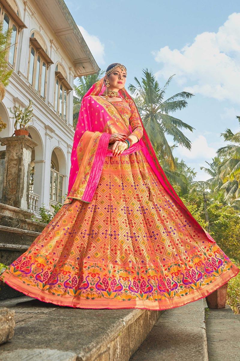 Multi Color Function Wear Weaving Work Banarasi Style Silk Fabric Lehenga Choli