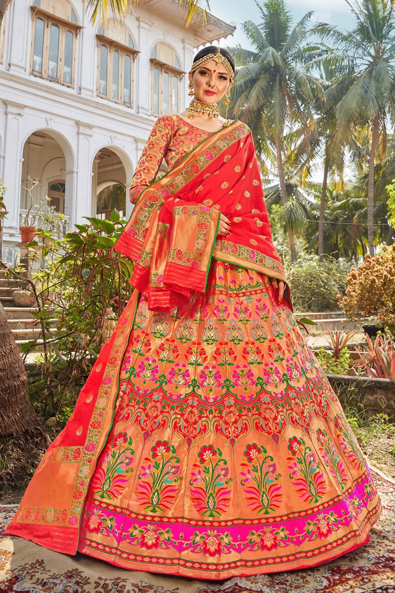 Function Wear Multi Color Trendy Banarasi Style Silk Fabric Weaving Work Lehenga
