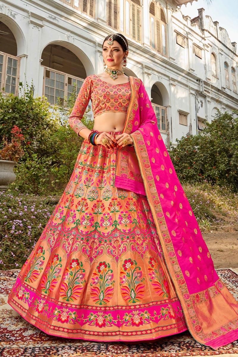 Multi Color Function Wear Weaving Work Lehenga Choli In Banarasi Style Silk Fabric