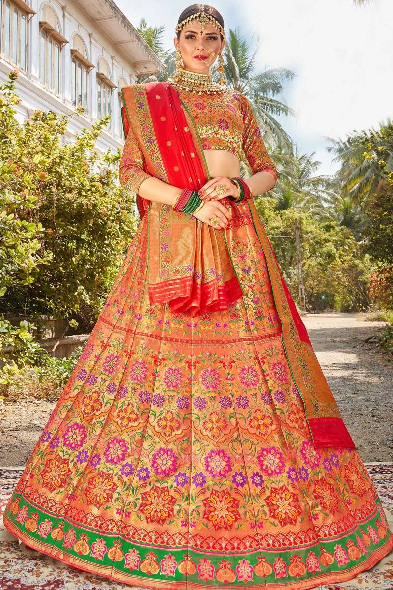 Trendy Banarasi Style Silk Fabric Function Wear Multi Color Weaving Work Lehenga