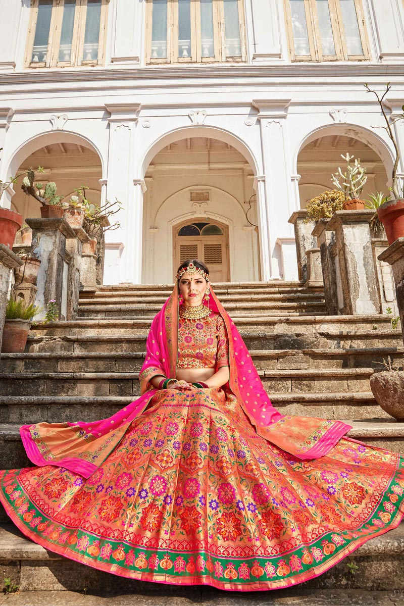 Banarasi Style Silk Fabric Function Wear Multi Color Weaving Work Lehenga Choli