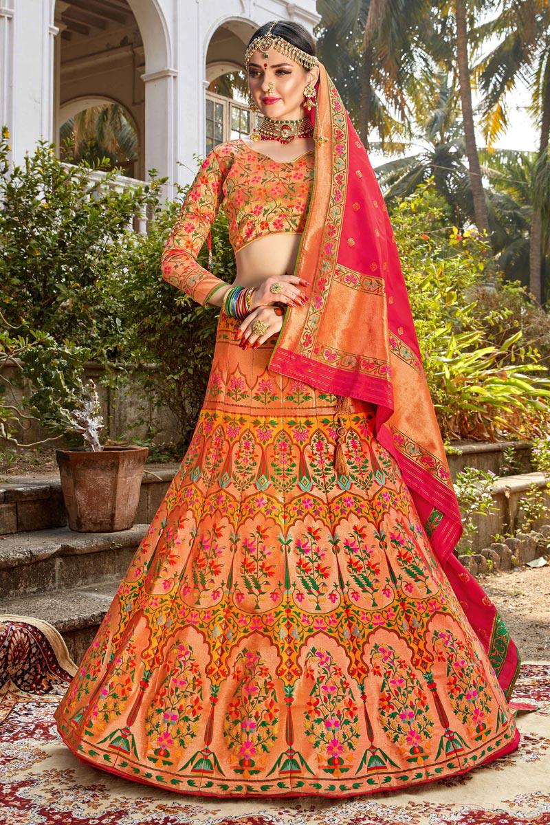 Function Wear Multi Color Trendy Weaving Work Banarasi Style Silk Fabric Lehenga