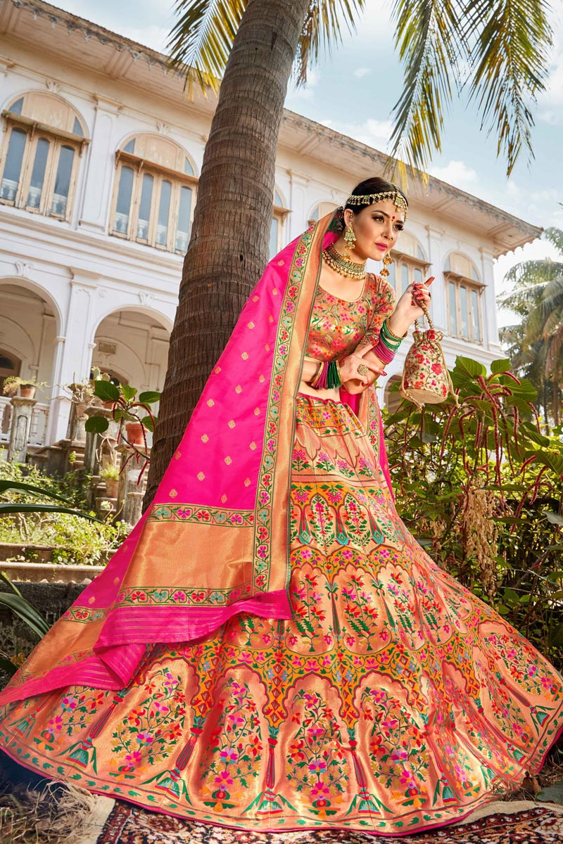 Banarasi Style Silk Fabric Function Wear Weaving Work Multi Color Lehenga Choli