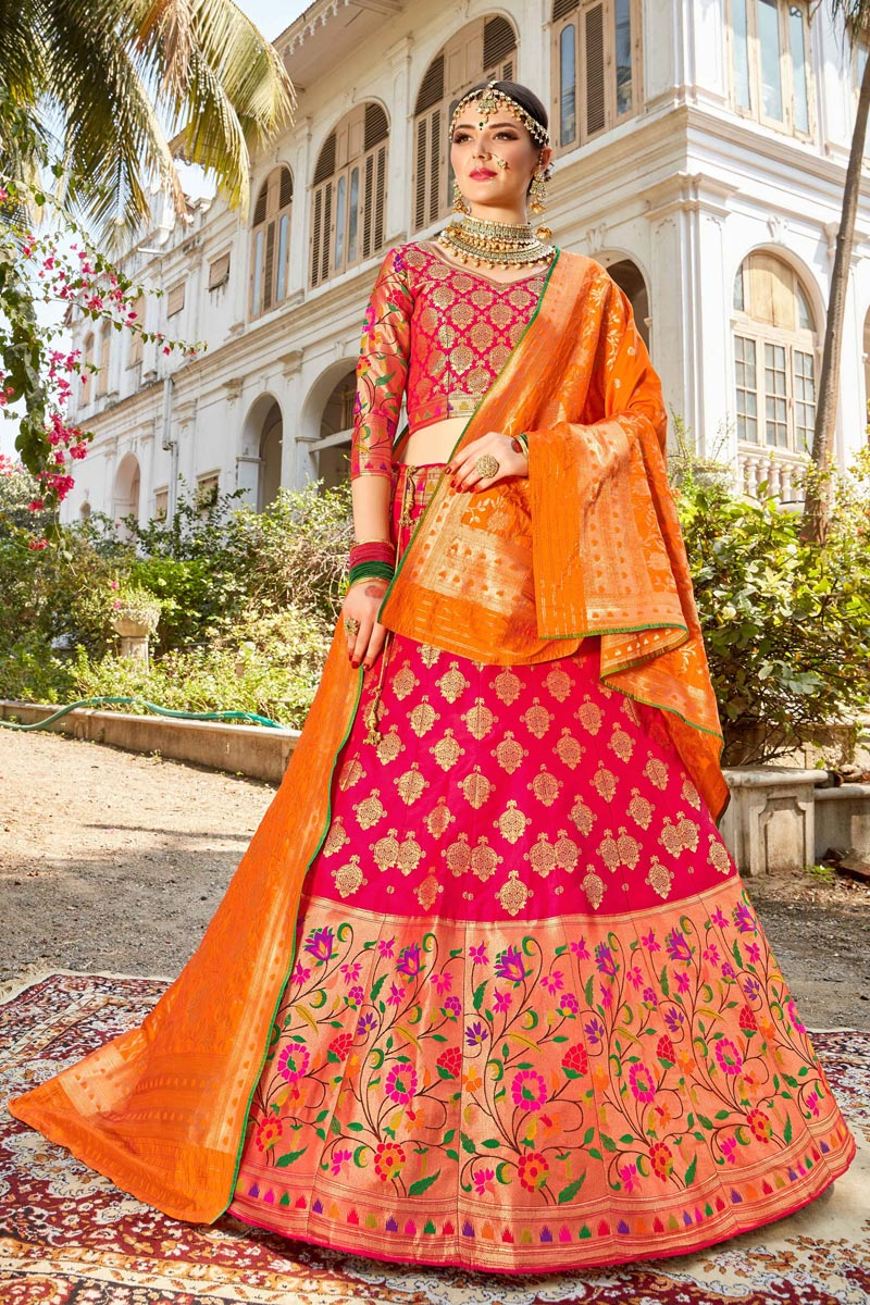 Function Wear Banarasi Style Silk Fabric Trendy Rani Color Weaving Work Lehenga