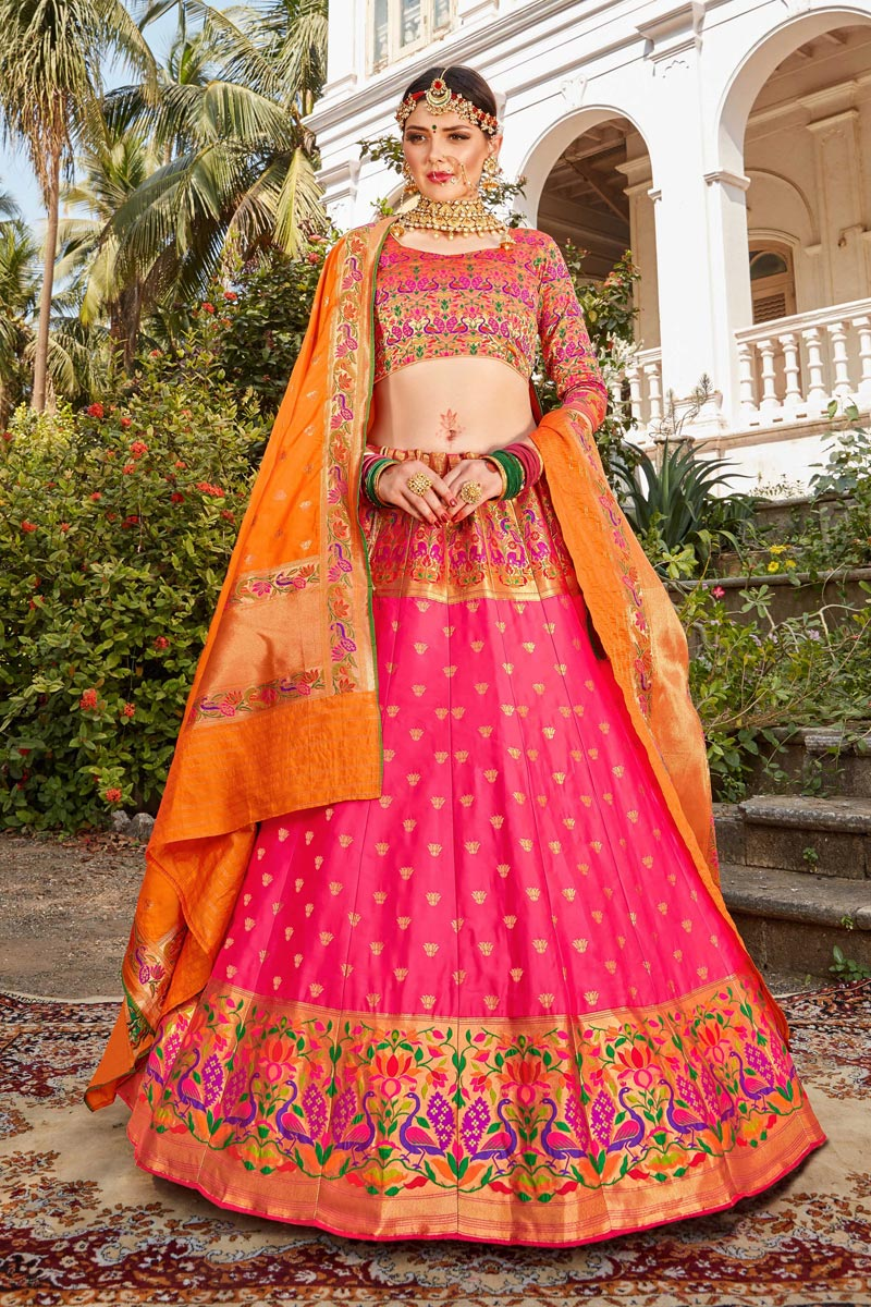 Pink Color Sangeet Function Wear Banarasi Style Silk Fabric Weaving Work Lehenga Choli