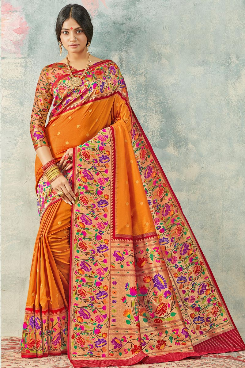 Sangeet Wear Orange Color Elegant Weaving Work Saree In Handloom Silk Fabric